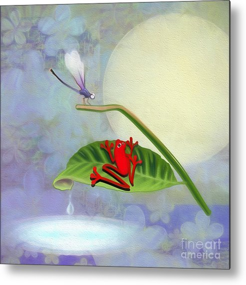 Red Metal Print featuring the digital art Redfrog And The Dragonfly by Andrea Ribeiro
