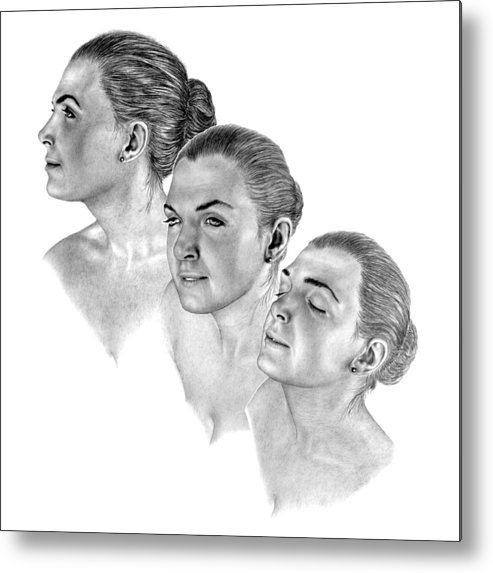 Pencil Drawing Print Metal Print featuring the drawing Reflecting by Joe Olivares