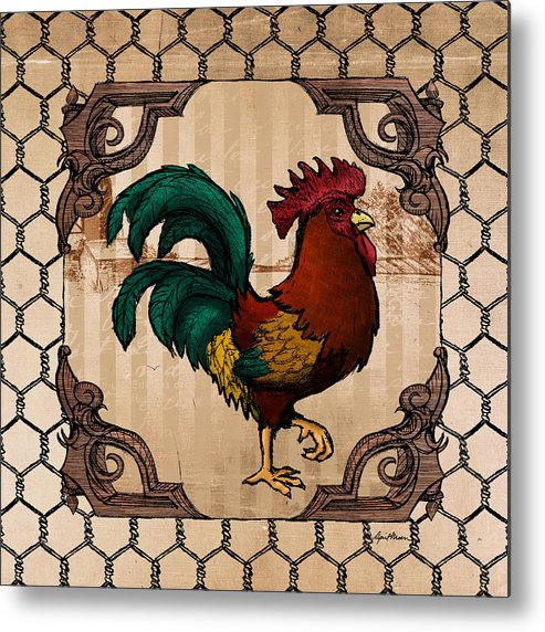 Rooster Metal Print featuring the digital art Rooster I by April Moen