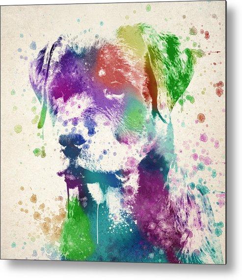 Rottweiler Metal Print featuring the digital art Rottweiler Splash by Aged Pixel