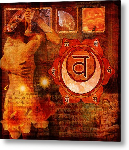 Chakra Metal Print featuring the digital art Sacral Chakra by Mark Preston