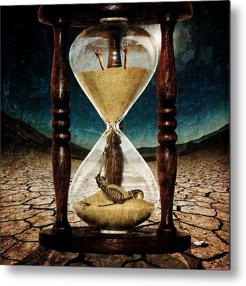 Clock Metal Print featuring the digital art Sands Of Time ... Memento Mori by Marian Voicu
