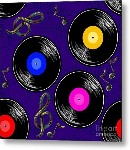 Dj Metal Print featuring the digital art Seamless Music Pattern With Vinyl by Artskvortsova