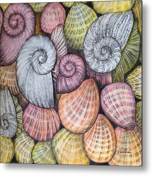 Shells Metal Print featuring the painting Shells by Panna Paintings