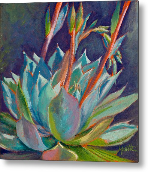 Succulent Metal Print featuring the painting Shooting Off Rainbows by Athena Mantle