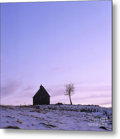 Outdoors Metal Print featuring the photograph Silhouette Of A Farm And A Tree. Cezallier. Auvergne. France by Bernard Jaubert