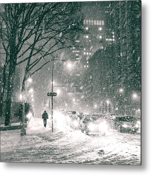 Nyc Metal Print featuring the photograph Snow Swirls At Night In New York City by Vivienne Gucwa