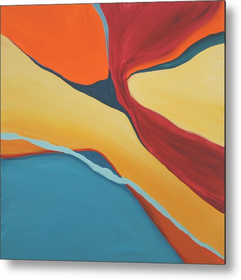 Abstract Metal Print featuring the painting Soaring by Marilyn Fenn