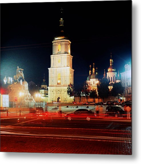 Europe Metal Print featuring the photograph Sofiiska Square At Night by Leonid Rozenberg