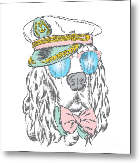 Flight Metal Print featuring the digital art Spaniel In The Captains Cap. Vector by Vitaly Grin