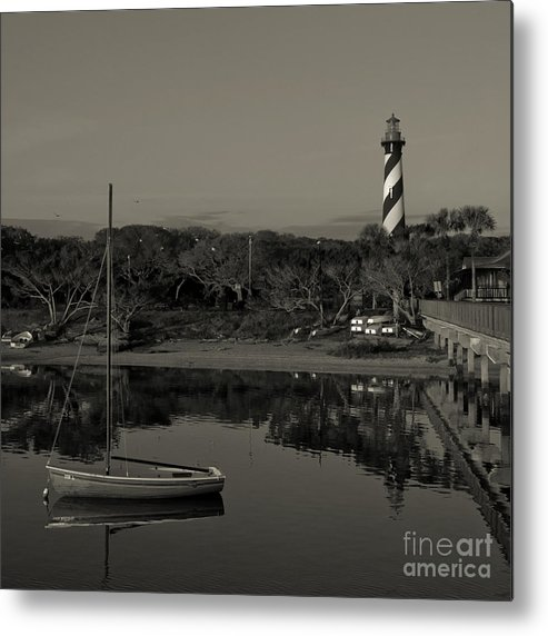 Lighthouse Metal Print featuring the photograph St. Augustine Lighthouse Beach Early Morning Monochrome by Kathi Shotwell