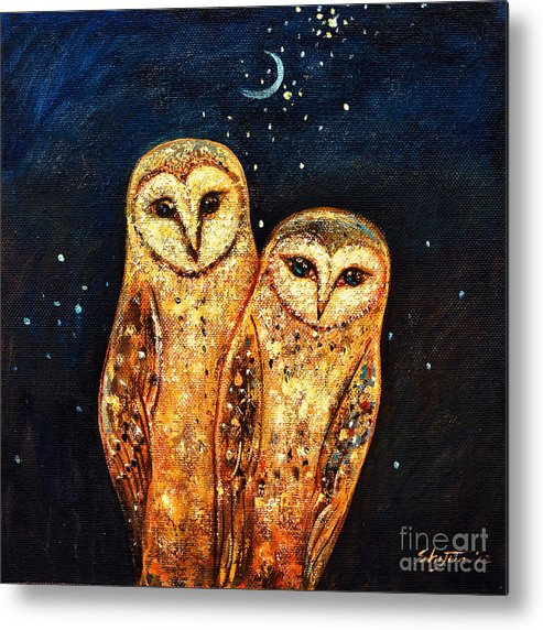 Owl Metal Print featuring the painting Starlight Owls by Shijun Munns