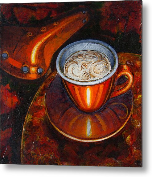 Coffee Metal Print featuring the painting Still Life With Bicycle Saddle by Mark Jones