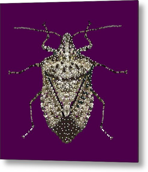 Stink Bug Metal Print featuring the digital art Stink Bug Bedazzled by R Allen Swezey