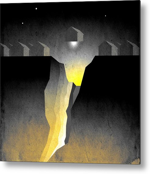 Abstract Expressionism Metal Print featuring the digital art Suburban Fracture by Milton Thompson