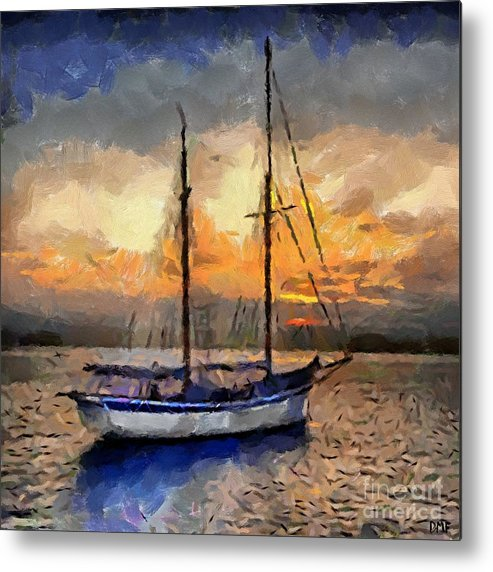 Landscapes Metal Print featuring the painting Sunset In The Bay by Dragica Micki Fortuna