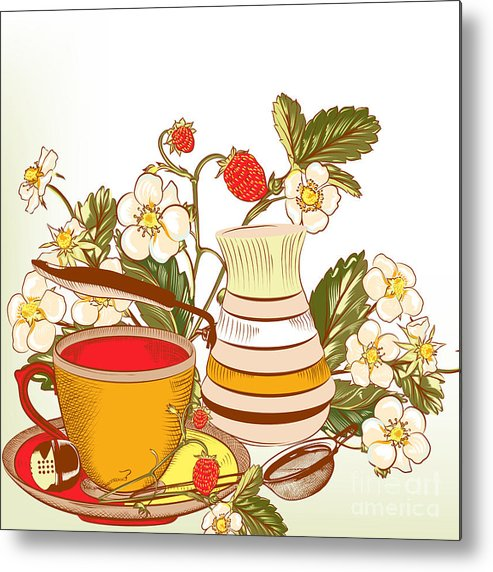 Love Metal Print featuring the digital art Tea Or Coffee Vector Background With by Mashakotcur