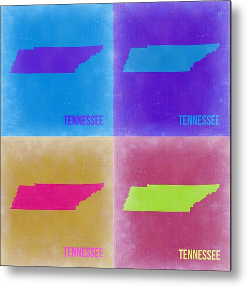 Metal Print featuring the painting Tennessee Pop Art Map 2 by Naxart Studio