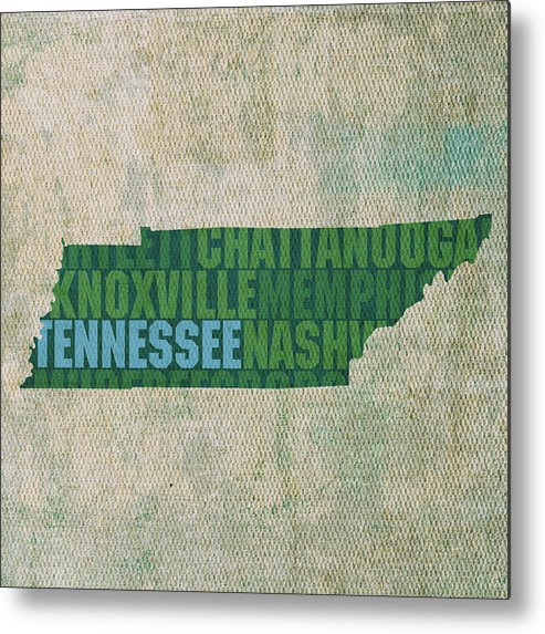 Tennessee Word Art State Map On Canvas Metal Print featuring the mixed media Tennessee Word Art State Map On Canvas by Design Turnpike
