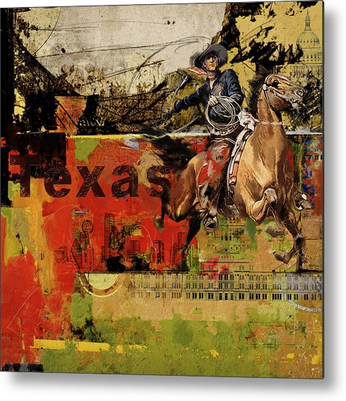 Texas Metal Print featuring the painting Texas Rodeo by Corporate Art Task Force