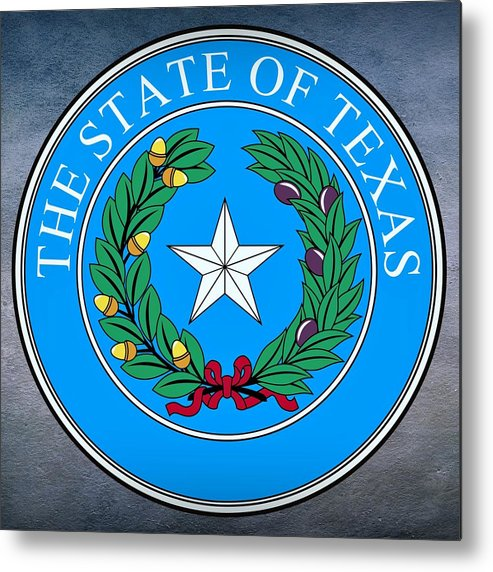 Texas Metal Print featuring the digital art Texas State Seal by Movie Poster Prints