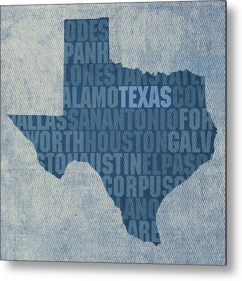 Texas Word Art State Map On Canvas Dallas San Antonio Houston Galveston Austin El Paso Fort Worth Texan Lone Star Usa America Alamo Metal Print featuring the mixed media Texas Word Art State Map On Canvas by Design Turnpike