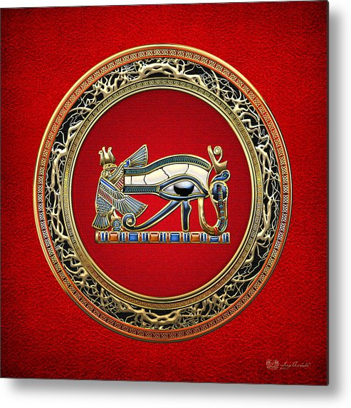 'treasure Trove' Collection By Serge Averbukh Metal Print featuring the digital art The Eye Of Horus by Serge Averbukh