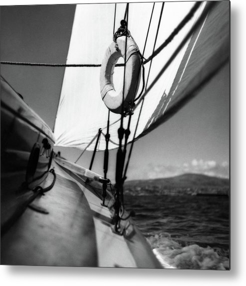 Gunwale Metal Print featuring the photograph The Gunwale Of A Sailboat by George Platt Lynes