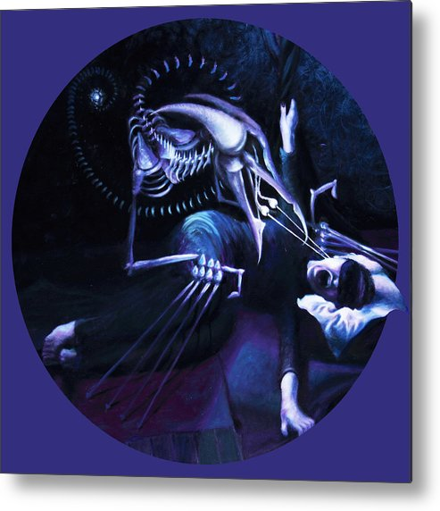 Shelley Irish Metal Print featuring the painting The Hallucinator by Shelley Irish