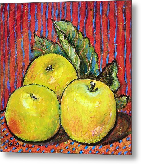 Painting Metal Print featuring the painting Three Yellow Apples by Blenda Studio