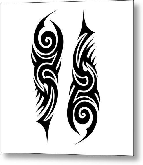 73bbe3aa2afa8 Gothic Style Metal Print featuring the drawing Tribal Tattoo Designs Vector  Sketch. Simple Abstract Black