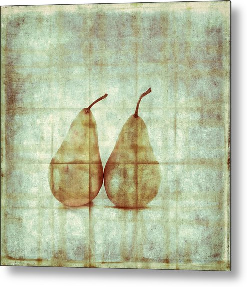 Two Metal Print featuring the photograph Two Yellow Pears On Folded Linen by Carol Leigh