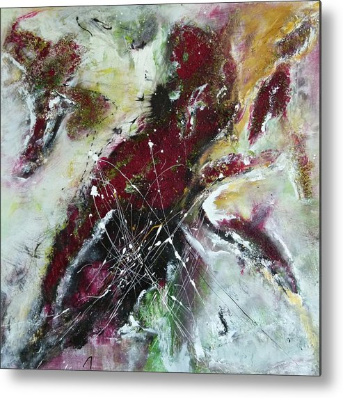 Painting Metal Print featuring the painting Universe- Abstract Art by Ismeta Gruenwald