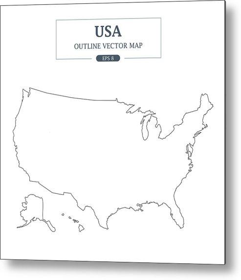 Usa Map Outline Border On White Background Vector Illustration Metal Print