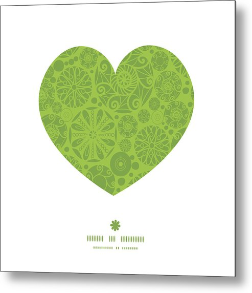 Vector Abstract Green And White Circles Heart Silhouette Pattern