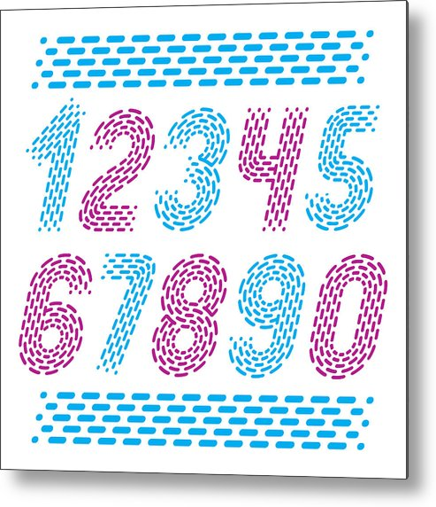 Vector Numbers, Modern Numerals Set  Rounded Bold Italic Retro Numeration  From 0 To 9  Made With Parallel Dashed Lines  Metal Print