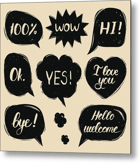 Vector Set Of Hand Drawn Colorful Comic Speech Bubbles With Phrases Hi,  Hello, I Love You, Yes, Wow, Bye, Welcome, Ok  Metal Print