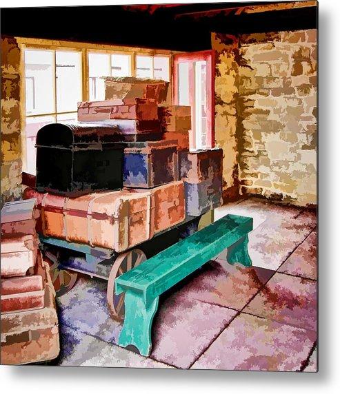 Trains Metal Print featuring the digital art Vintage Luggage Room by John Lynch
