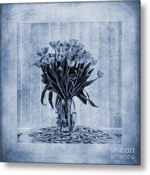 Tulip Painting In Blue Metal Print featuring the painting Watercolour Tulips In Blue by John Edwards