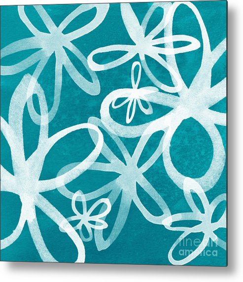 Large Abstract Floral Painting Metal Print featuring the painting Waterflowers- Teal And White by Linda Woods