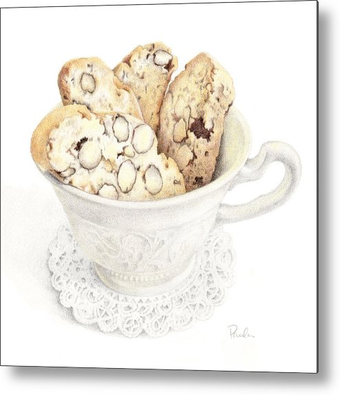 Wedgwood China Metal Print featuring the drawing Wedgwood Biscotti by Paula Pertile