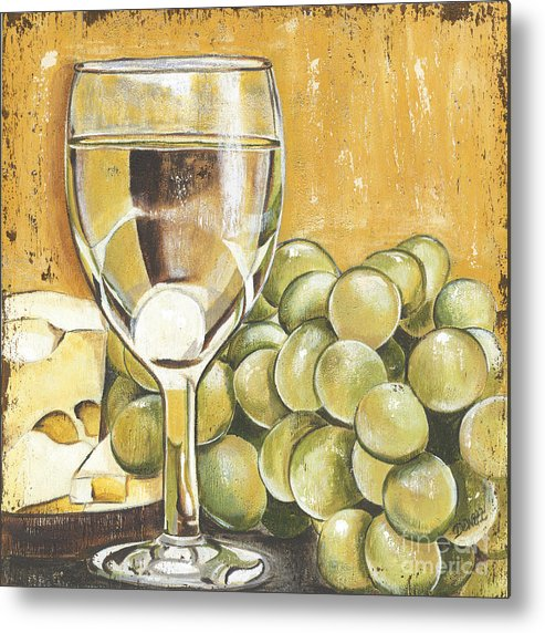 White Wine Metal Print featuring the painting White Wine And Cheese by Debbie DeWitt
