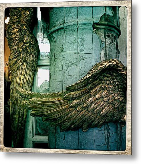Angel Metal Print featuring the digital art Wing It I by Jen Brooks Art