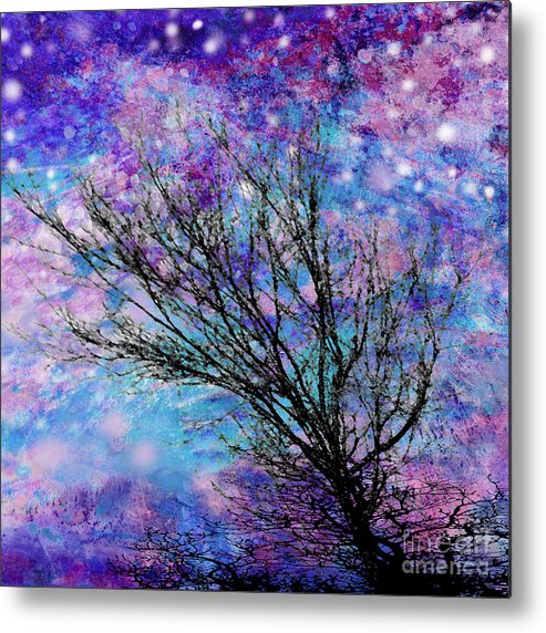 Starry Metal Print featuring the digital art Winter Starry Night Square by Ann Powell