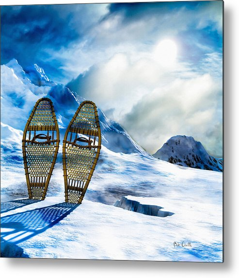 Winter Metal Print featuring the photograph Wooden Snowshoes by Bob Orsillo