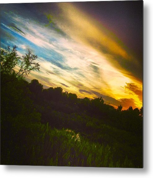 Florida Sunset Metal Print featuring the photograph Yellow Blue And Green by K Simmons Luna