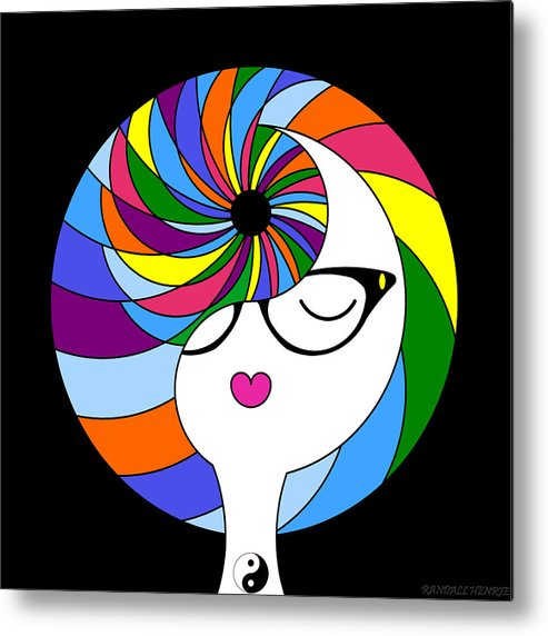 Colorful Metal Print featuring the digital art Yin Yang Crown 2 by Randall Henrie