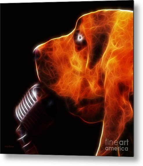 Animal Metal Print featuring the photograph You Ain't Nothing But A Hound Dog - Dark - Electric by Wingsdomain Art and Photography
