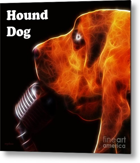 Animal Metal Print featuring the photograph You Ain't Nothing But A Hound Dog - Dark - Electric - With Text by Wingsdomain Art and Photography