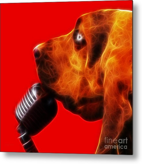 Animal Metal Print featuring the photograph You Ain't Nothing But A Hound Dog - Red - Electric by Wingsdomain Art and Photography